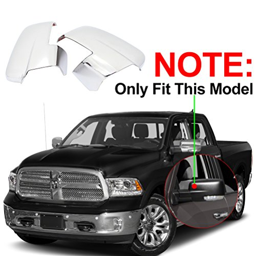 NINTE Fit for 2013-2018 Dodge Ram 2500/3500/HD 2013-2018 Dodge Ram 1500 Triple Chrome Plated Mirror Cover W/Turn Signal Cut-Outs Dodge Ram Exterior Accessories