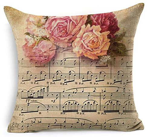 Retro Shabby Sheet Music Beautiful Musical Notes Pink Rose Flowers Cotton Linen Throw Pillow Case Cushion Cover New Home Office Decorative Square 18 X 18 Inches For Music Club