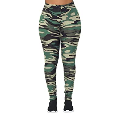 9ed0fe6edb ANJUNIE Women Camouflage Sports Leggings Camo Cargo Pants Outdoor Casual  Trousers (Army Green,S