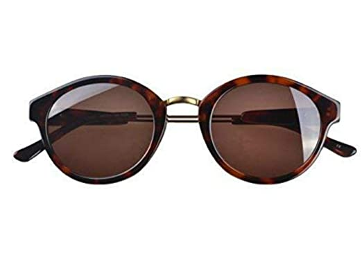 1b1c49a29aa Petite Vintage Style Round Sunglasses with Gold detail (Dark Brown) by Eshne