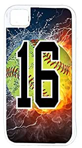 Flaming Softball Sports Fan Player Number 16 White Rubber Hybrid Tough Case Decorative iPhone 4/4s Case