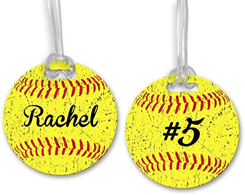 - Double-Sided Personalized Softball Bag Tag Made of Hard Plastic Add Player Name and Number