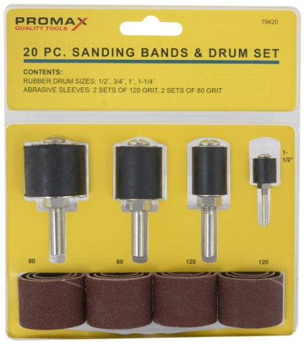 20 Piece Spindle - MSI Promax, WWA79420, 20-piece sanding bands and drum kit, Includes - 4 rubber drum sized; 1/2