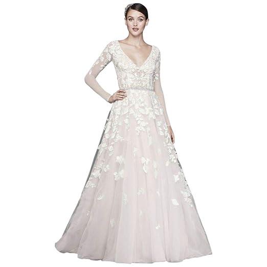 Petite Wedding Dresses.David S Bridal Illusion Sleeve Plunging Petite Wedding Dress Style