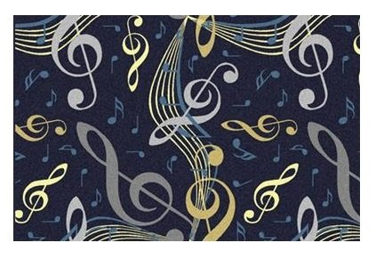 Virtuoso Music Notes Navy Blue - 2'x3' Custom Stainmaster Premium Nylon Carpet Area Rug ~ Bound Finished Edges by Children's Choice (Image #1)