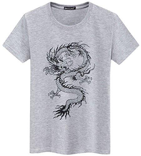 shirt Totem Camicia Uomo Girocollo In Maniche Zglgrigio Corte Stampa T Con Da Drago Maglietta Guocu Stile A Cinese Zq0fx5