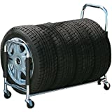 ボンフォーム タイヤラック 台車タイプ キャスター付き S~L 4本用タイヤ幅245mmまで シルバー タイヤカバー付き 7250-40SI