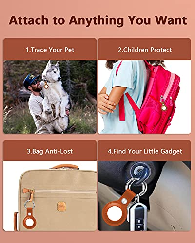 2 Pack Case for AirTag, Azddur Genuine Leather case for AirTags Key Chain Loop, Easy Carry AirTag Holder Cover for Keys, Backpacks, Liner Bags (Brown)