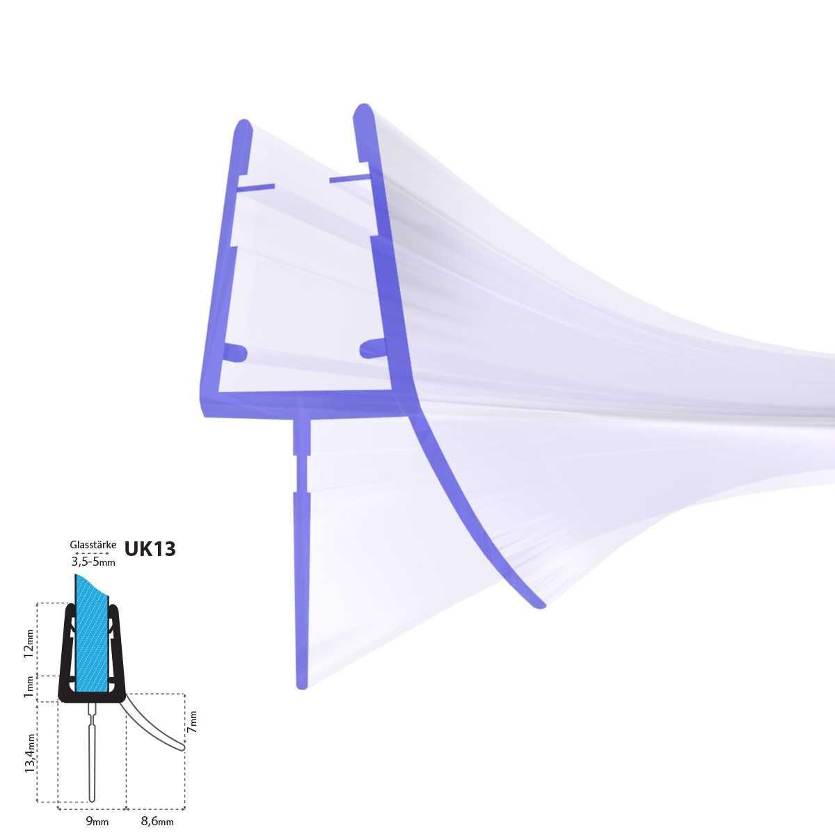 STEIGNER Duschdichtung, 200cm, Glasstä rke 3,5/4/5 mm, Gebogene PVC Ersatzdichtung fü r Runddusche, UK13