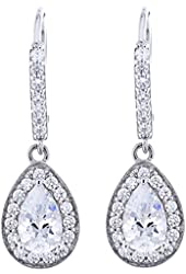 Platinum Plated Sterling Silver Cubic Zirconia Dangle Earrings