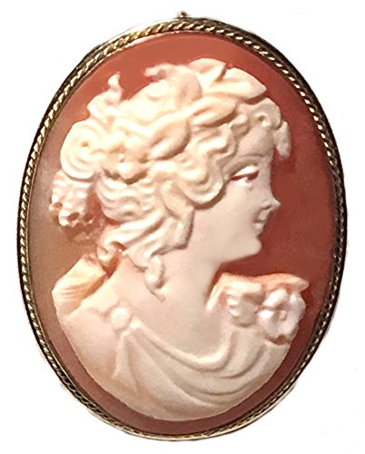 Romantica Cameo Brooch Pendant Master Carved, Carnelian Shell Sterling Silver 18k Gold Overlay - Carnelian Pendant Carved