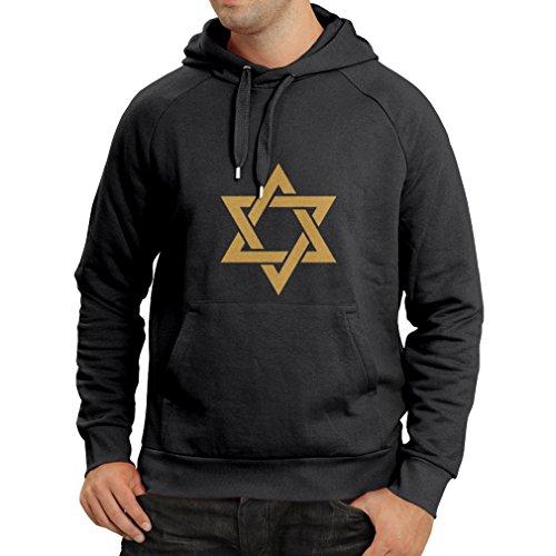 lepni.me N4124H New Star David Star Religious Symbol Mens Black Jewish Icon Mens Long Sleeve Hoodie (M, Black - Online Saint Laurent Shop