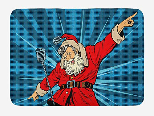 Santa Mohawk - Popstar Party Bath Mat, Pop Art Style Santa Claus Superstar Singer on Stage with Retro Microphone, Plush Bathroom Decor Mat with Non Slip Backing, 23.6 W X 15.7 W Inches, Blue Red Tan