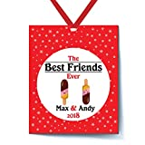 Personalized Best Friends Ever Stick Ice Creams Funny Emoji Friends Christmas Tree Holiday