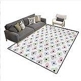 Carpet,Cards Symbols Soft Colors Geometric Ornament Pattern...
