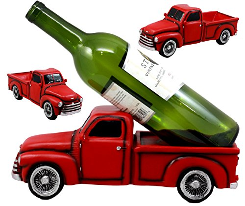 "Ebros Gift Red Vintage Old Fashioned Pickup Truck Wine Holder 11.25"" Long Figurine Wine Bottle Holder Caddy"