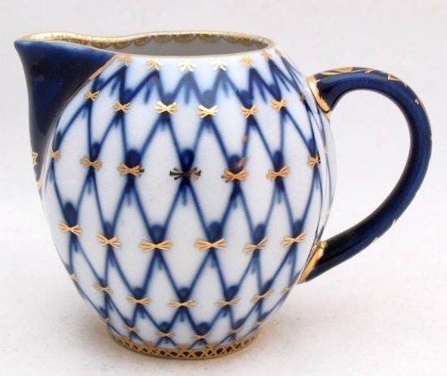 Authentic Russian Lomonosov Porcelain Cobalt Net Small Creamer 2 3/4 Inch by Lomonosov - Creamer Lomonosov Porcelain
