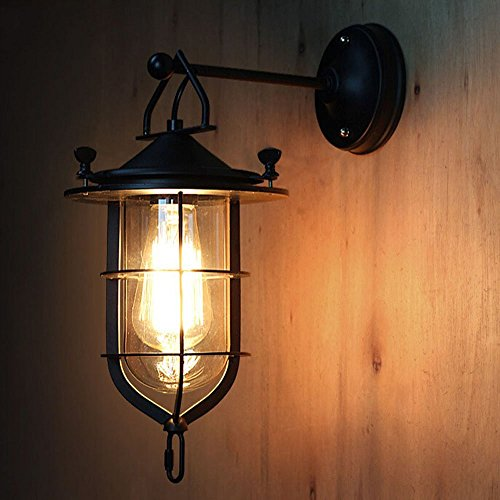 NIUYAO Industrial Vintage 1 light Wall Lighting Fixtures Metal Lantern Outer Cage Indoor Antique Wall Lamps Swing Arm Wall Sconce - Cage Lantern Wall Fixture