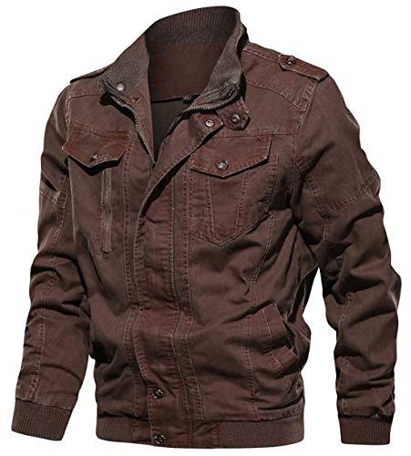 chouyatou Men's Casual Long Sleeve Full Zip Tie-Dyed Distressed Twill Work Bomber Windbreaker Jacket (Medium, Coffee)