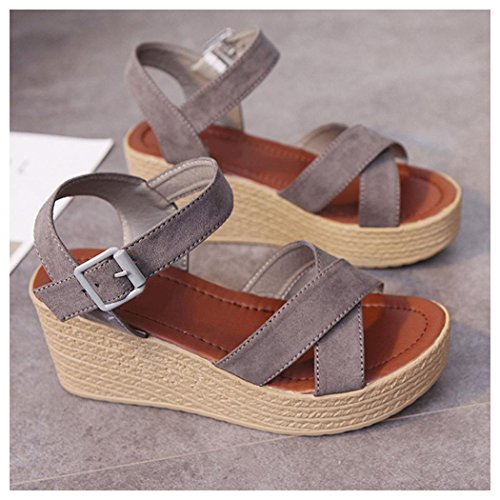 Summer Sandals, Inkach Fashion Women Summer Casual Sandals Slope With Flip Flops Loafers Shoes Gray