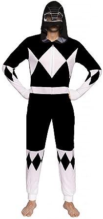 Power Rangers Black Ranger Adult One Piece Pajama Union Suit (Medium)