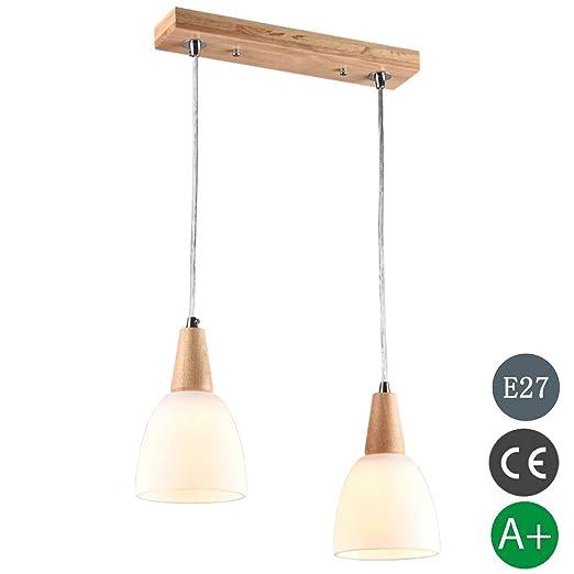 colgante LED la de de Altura de vidrio Lámpara madera ECQrdxBeoW