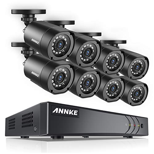 - ANNKE Security Camera System 1080P Lite H.264+ 8CH Surveillance DVR and (8) 1080P HD Weatherproof Camera, Easy Remote View, Smart Playback, NO Hard Drive