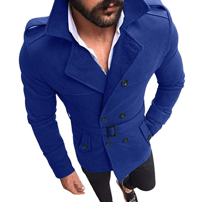 Fenleo Mens Double Breasted Trench Coat Slim Fit Notch Lapel Jacket Pea Coat at Amazon Mens Clothing store: