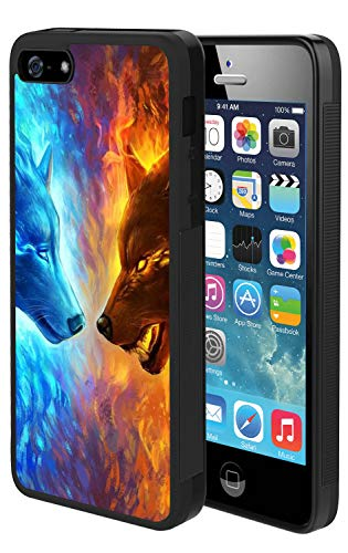 Bolostin Cases for iPhone SE 5s 5 with TPU and Hard Shell Silicone All Edges Shockproof Fashion Pattern Soft Rubber Protection Case Cover Flame Wolf VS Water Wolf iPhone SE 5s 5 Case