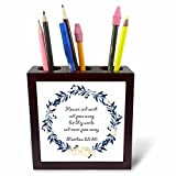 3dRose TNMGraphics Scripture - Scripture Matthew 25 Heaven and Earth Will Pass Away - 5 inch tile pen holder (ph_280636_1)