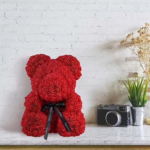 Qivange Rose Bear Rose Teddy Bear Best Gift for Valentines Day, Anniversary, Birthdays & Bridal Showers 16 inch (Red)