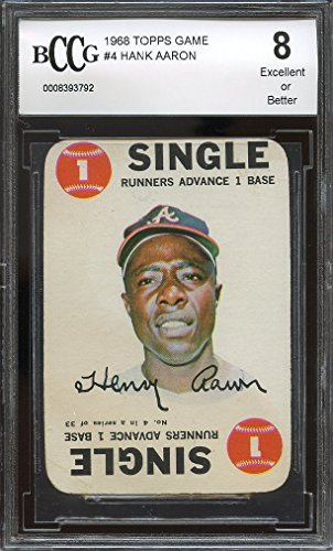 Hank Aaron Game (1968 topps game #4 HANK AARON atlanta braves BGS BCCCG 8 Graded Card)