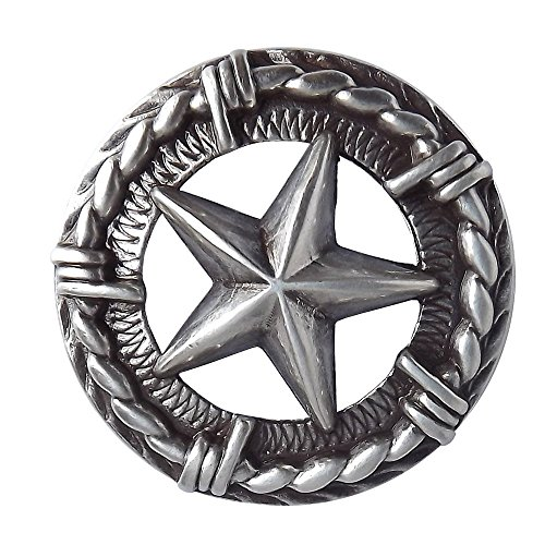 Sterling Concho - 3-D Star Sterling Plated Screwback Conchos with a Hand Rubbed Antique Finish.
