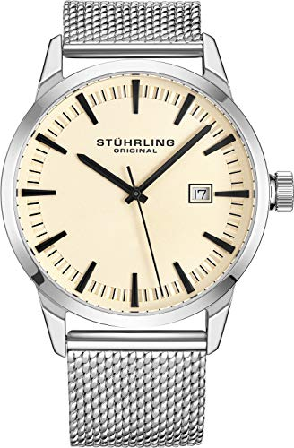 Stuhrling Original Mens Watch Mesh Band - Dress + Casual Design - Analog Watch Dial with Date, 555 Watches for Men Collection (Beige)