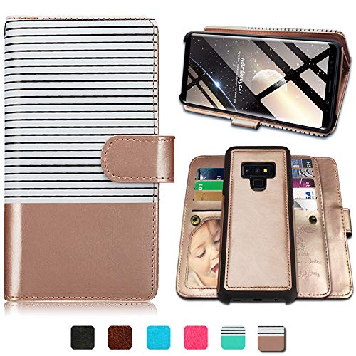Note Case Wallet - Galaxy Note 9 Cases, Magnetic Detachable Lanyard Wallet Case with 9 Card Slots, Kickstand, Hnad Strap for Galaxy Note 9, CASEOWL 2 in 1 Folio Flip Premium Leather Removable TPU Case(White&Rose Gold)