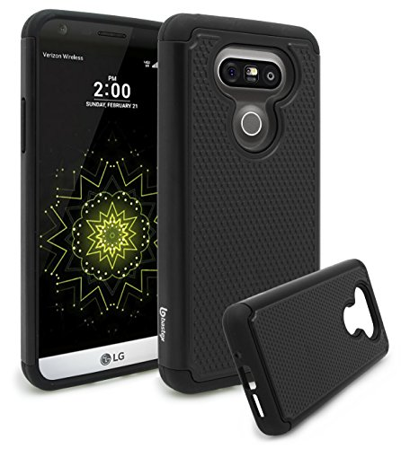 (LG G5 Case, Bastex Hybrid Slim Fit Heavy Duty Protection Black Rubber Silicone Cover Black Hard Plastic Case for LG G5)