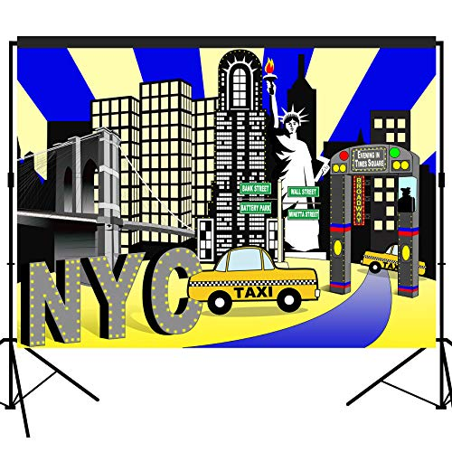 musykrafties New York City Times Square Party Backdrop Large Banner Decoration Dessert Table Photography Background Photobooth Prop 7x5 feet