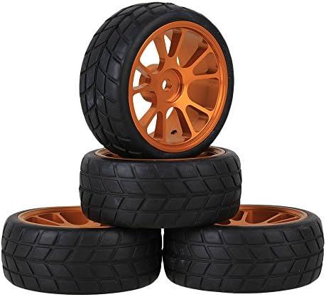 Mxfans RC 1: 10オンロードレーシング車ブラック正方形パターンラバータイヤとゴールドアルミニウム合金10-spokeホイールリムタイヤセットのセット4