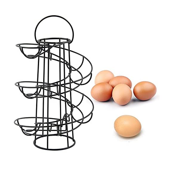 Vencer Stainless Steel Egg Steamer Rack 1 Display and organize your eggs like never before with this freestanding egg dispenser rack Unique way to store and display your backyard eggs on your countertop. Approximate Dimensions (in inches): 12.5 H X 8.25 Diameter.