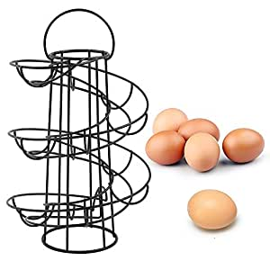 Vencer Deluxe Modern Spiraling Design Metal Freestanding Egg Skelter / Dispenser Rack (Black) VKO-001