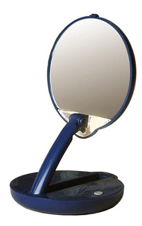 Lighted Travel Makeup Mirror 15x.Floxite Lighted Travel Compact Mirror Adjustable Table Top