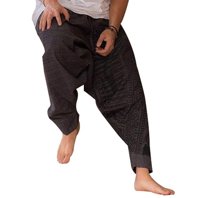 3d919b3c0 Mxssi Casuales Pantalones para Hombre, Moda Tallas Grandes Hippies  Pantalones Harem con Cintura Elástica Cómodos Loose Fit Pantalones Largos  Bottoms ...