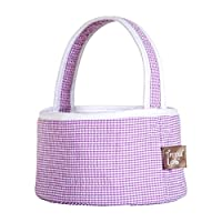 Trend Lab Lilac Gingham Seersucker Collapsible Round Caddy