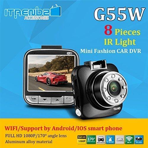 Car DVR 1080p, Itrendz G55W [WIFI] 2.0 inch HD LCD Mini Car Recorder Dash Camera Camcorder Blackbox Cam [WDR Technology][170 Degrees Wide Angle Lens][IR Night Vision] G-Sensor HDMI MIC Zoom [HD Car DVR]
