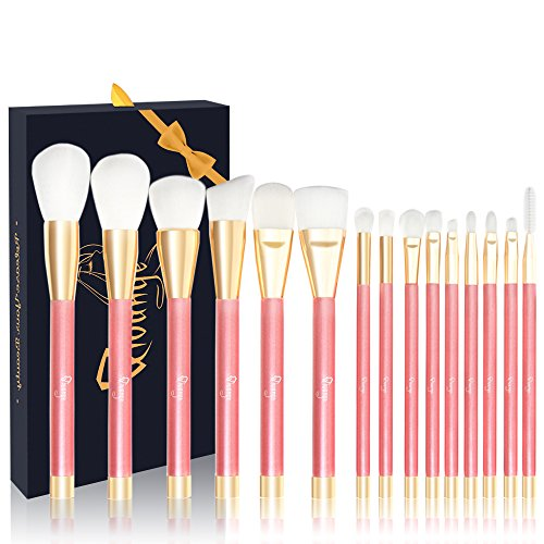 Qivange Makeup Brush Set, 15pcs Cosmetic Liquid Foundation Powder Blush Eyeshadow Makeup Brushes with Gift Box, Professional Makeup Brushes(Pink with ()