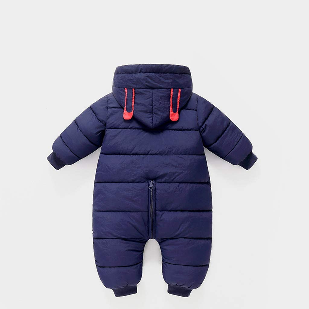 Suppion Boys Clothes Baby Boys Winter Warm Thick Romper Jumpsuit Fashion Cute Rabbit Printed Hooded Romper Down Jacket