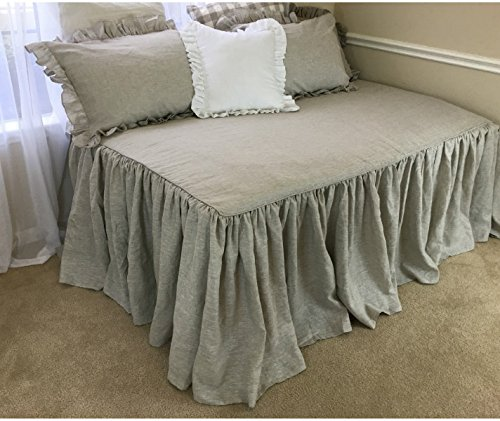 Daybed Cover, Daybed Bedding, Fitted Daybed Cover, Daybed Cover Set Natural linen, Linen Bedding. Shabby Chic Bedding, Ruffle Bedding, FREE SHIPPING (Bedspreads Daybed)