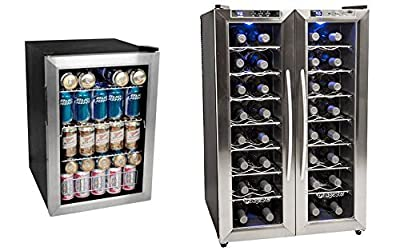 Edgestar 84 Can Extreme Cool Beverage Cooler & 32 Bottle Dual Zone Stainless Steel Wine Cooler