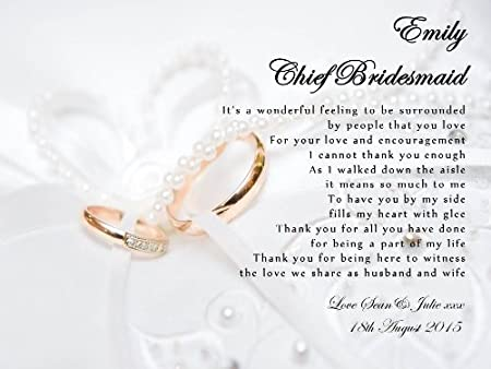 personalised maid of honour chief bridesmaid thank you poem wedding