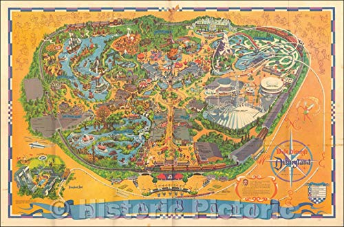 Historic Map | Walt Disney's Guide to Disneyland The Magic Kingdom, 1968, Walt Disney Productions | Vintage Wall Art 24in x 16in